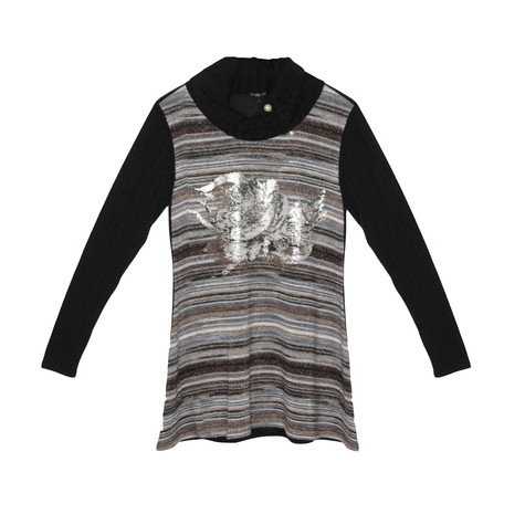 SophieB Grey & Metallic Flower Print Turtle Neck Top