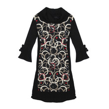 SophieB Swirl Pattern Black Turtle Neck Dress