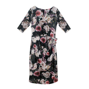 Zapara Floral Print 3/4 Sleeve Dress