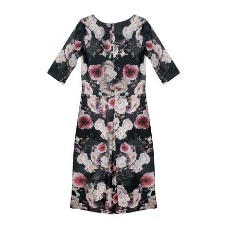 Zapara Floral Print 3/4 Sleeve Dress