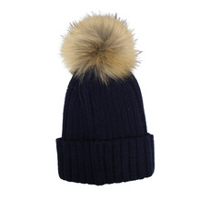 Victoria Navy Furry Bobble Hat