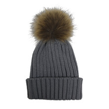 Victoria Light Grey Furry Bobble Hat