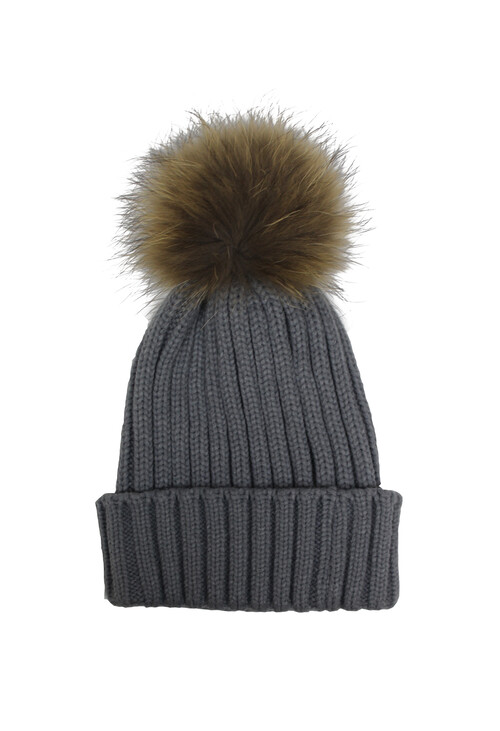 Victoria Light Grey Furry Bobble Hat