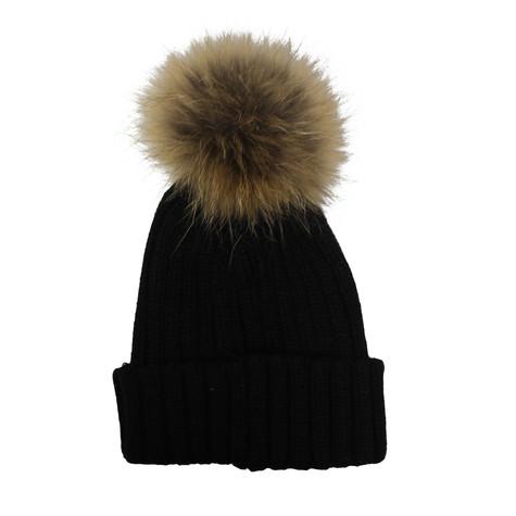 Victoria Black Furry Bobble Hat