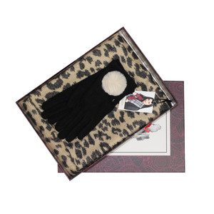 Something Special Black Glove & Leopard Pattern Scarf Gift Set