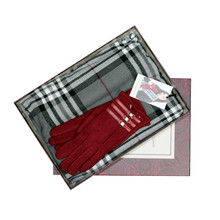 Something Special Burgundy Glove & Check Scarf Gift Set