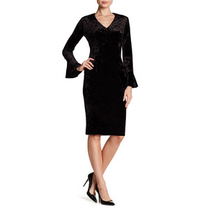London Times Crushed Black Velvet V-Neck Bell Sleeve Sheath Dress