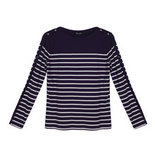 Twist Aubergine & White Stripe Round Neck Top
