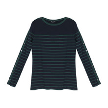 Twist Navy & Green Stripe Round Neck Top