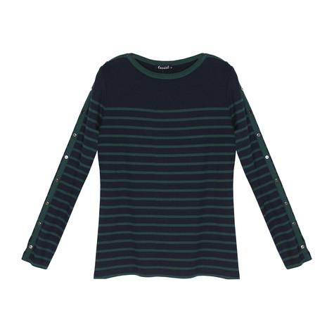 Twist Navy & Green Stripe Round Neck Top