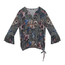 SophieB Khaki Dark Floral Print Open Neck Top