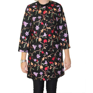 Sweet Miss Multi-Colour Black Embroidery Collarless Coat