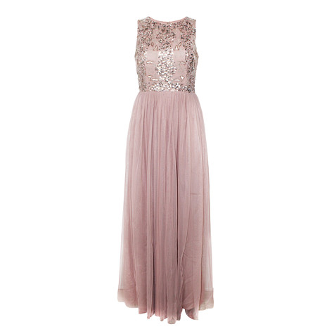 Maya Sleeveless Embellished Bodice Maxi Dress With Tulle Skirt