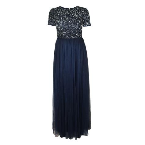 Maya Navy Embellished Bodice Maxi Dress With Tulle Skirt