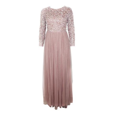 Maya Long Sleeve Embellished Bodice Maxi Dress With Tulle Skirt