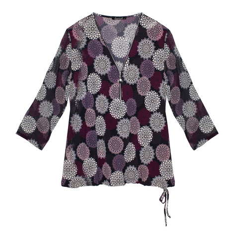Twist Aubergine & White Circle Print Zip Detail Top