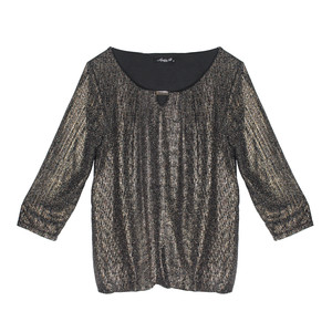 SophieB Bronze Glitzy Round Neck Top