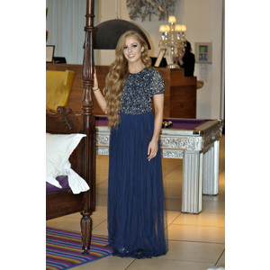 Maya Navy Embellished Bodice Maxi Dress With Tulle Skirt