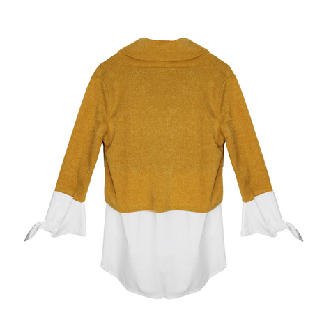 SophieB Mustard Cowl Neck Knit Top