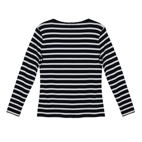 Twist Stripe Pearl Detail Top
