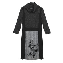 SophieB Black & Grey Cowl Neck Dress