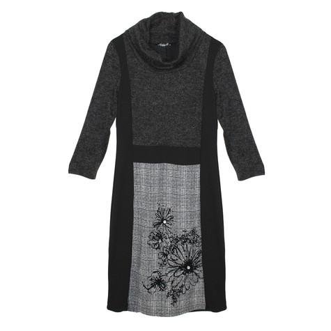 SophieB Black & Grey Cowl Neck Dress