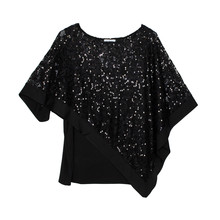 Zapara Black Cape Glitter Top
