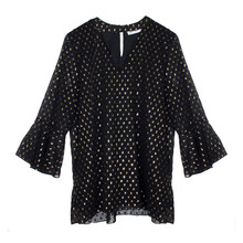 Zapara Gold Spot Black Blouse