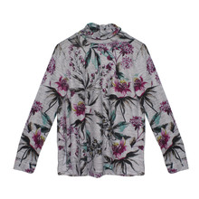 Twist Grey Floral Pattern Bell Sleeve Top
