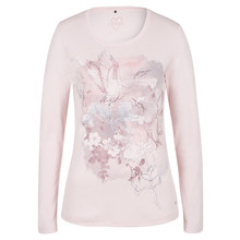 Olsen LONG-SLEEVED T-SHIRT CRANE MOTIF - DUSTY ROSE