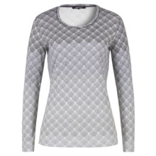 Olsen LONG-SLEEVED TOP FAN PRINT - GRAPHITE