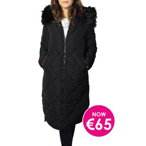 Kelya Black Fuax Fur Hooded Winter Coat