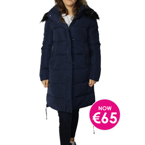 Kelya Navy Fuax Fur Hooded Winter Coat