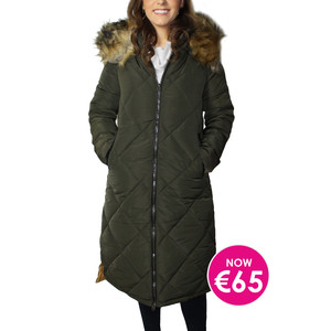 Kelya Green Fuax Fur Hooded Winter Coat