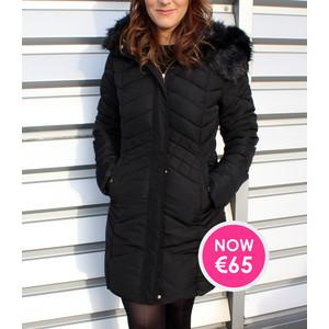 Kelya Black Hooded Winter Coat  - NOW €65