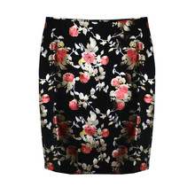 NYCC Black & Red Floral Metallic Skirt