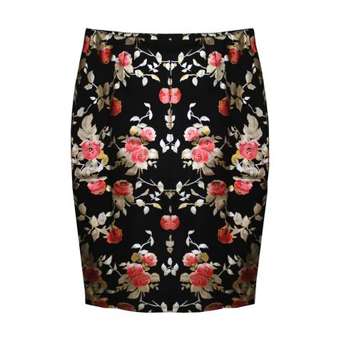 NYCC Black & Red Floral Metallic Skirt