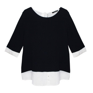 SophieB Navy with Cream Sleeve Top