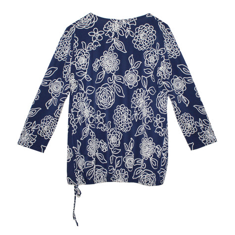 SophieB Navy Floral Stitched Zipped Detail Top