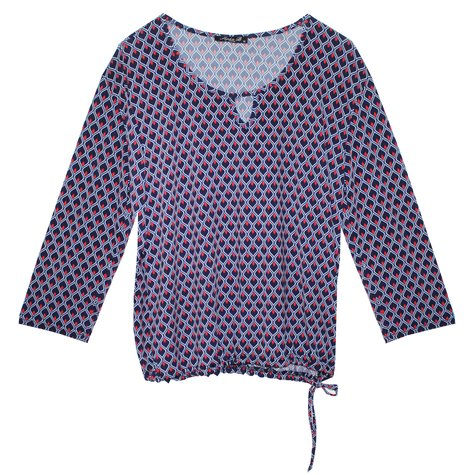 SophieB Navy Red Diamond Print Pattern Top