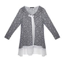 SophieB Cream & Navy Tie Neck Detail Long Sleeve Knit
