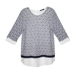 SophieB Grey & Navy Circle Pattern Print Knit