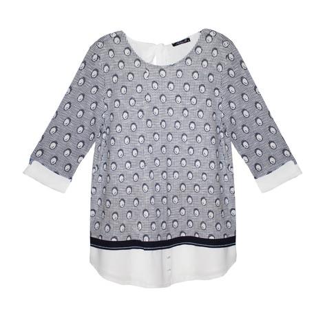 SophieB Grey & Navy Circle Pattern Print Knit