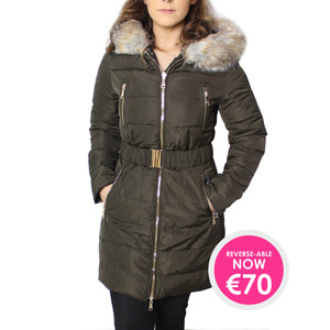 Kelya Reverse-able Black & Khaki Winter Coat