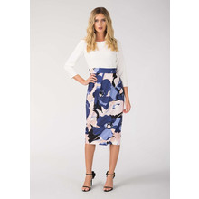 Closet White & Navy Draped Contrast Dress