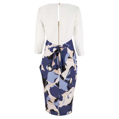 Closet White & Navy Draped Contrast Dress