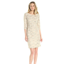 Ronni Nicole Beige 3/4 Sleeve Tiered Sequin Lace Dress
