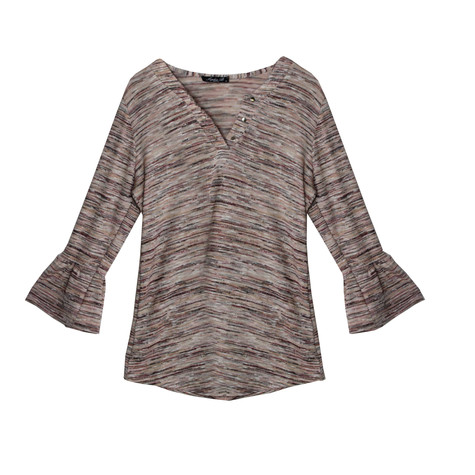 SophieB Peach Pattern Open V-Neck Top