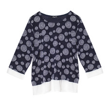 SophieB Navy Swirl White Trim Blouse