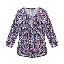 SophieB Navy Floral Pattern Zip Detail Top
